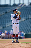 Jacksonville Jumbo Shrimp starting pitcher Jordan Yamamoto (23) looks in for the sign during a Southern League game against the Tennessee Smokies on April 29, 2019 at Baseball Grounds of Jacksonville in Jacksonville, Florida.  Tennessee defeated Jacksonville 4-1.  (Mike Janes/Four Seam Images)