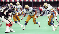 John Sturdivant Delbert Fowler Winnipeg Blue Bombers 1986. Photo F. Scott Grant
