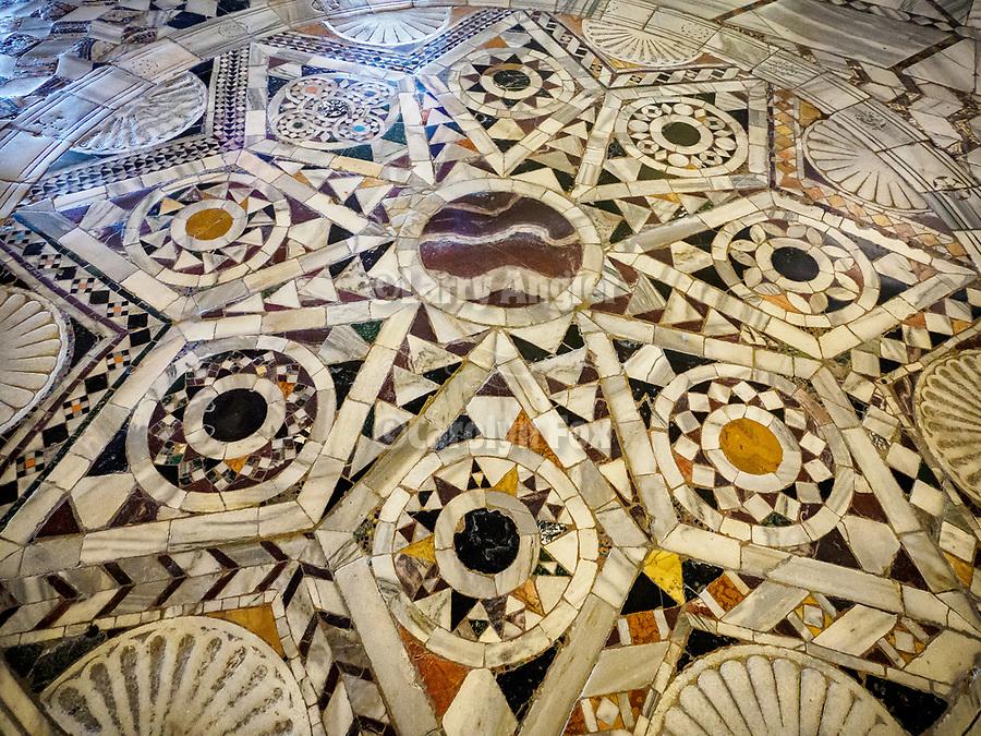 Stone floor mosaic, Basilica of San Vitale church, Ravenna, Italy<br /> <br /> 6th century byzantine church and mosaics