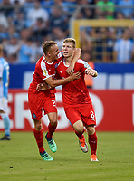 19.08.2018, Football DFB Pokal 2018/2019, 1. round, Tsv 1860 Muenchen - Holstein Kiel, Gruenwalderstadium Muenchen.  Jannik Dehm (Kiel) and Alexander Muehling (Kiel) celebration.<br /><br /><br />***DFB rules prohibit use in MMS Services via handheld devices until two hours after a match and any usage on internet or online media simulating video foodaye during the match.***  *** Local Caption *** © pixathlon<br /> <br /> Contact: +49-40-22 63 02 60 , info@pixathlon.de