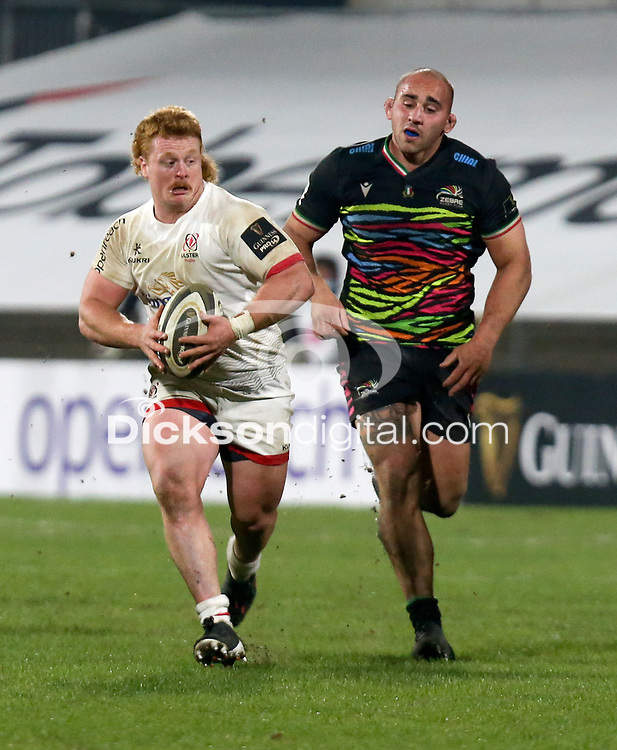 19th March 2021;   Bradley Roberts scores during the final round of the Guinness PRO14 against Zebre Rugby held at Kingspan Stadium, Ravenhill Park, Belfast, Northern Ireland. Photo by John Dickson/Dicksondigital