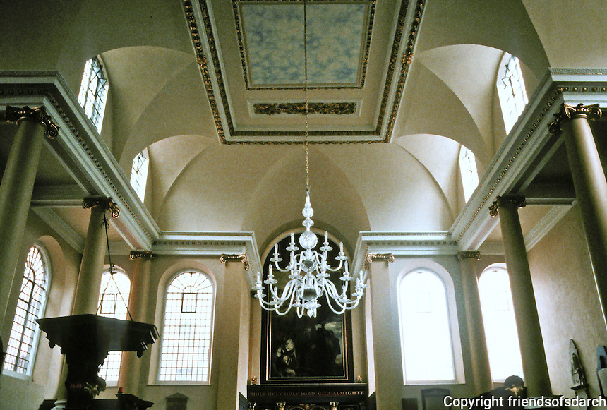 """Sir Christopher Wren: St. James Garlickhythe, 1674-1687.  Interior. The interior is """"one of the few among Wren's churches to have retained some of the atmosphere of 17th century Protestantism."""" (No stained glass.)"""