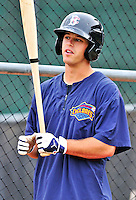 21 August 2010: Brooklyn Cyclones infielder Justin Schafer awaits his turn in the batting cage prior to a game against the Vermont Lake Monsters at Centennial Field in Burlington, Vermont. The Cyclones defeated the Lake Monsters 8-7 in a 12-inning game that had to be resumed in Brooklyn on August 31 due to late inning rain. Mandatory Credit: Ed Wolfstein Photo