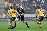 Sam Cane of the New Zealand All Blacks is tackled during the Bledisloe Cup - New Zealand v Australia at Sky Stadium, Wellington, New Zealand on Sunday 11 October 2020. <br /> Photo by Masanori Udagawa. <br /> www.photowellington.photoshelter.com