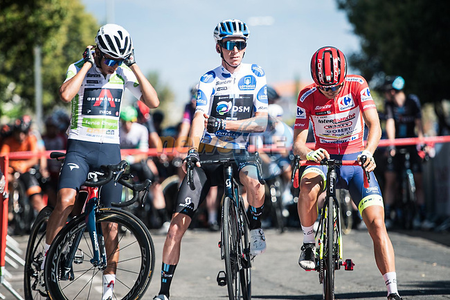 White Jersey Egan Bernal (COL) Ineos Grenadiers, Polka Dot Jersey Romain Bardet (FRA) Team DSM and Red Jersey Odd Christian Eiking (NOR) Intermarché-Wanty-Gobert Matériaux line up for the start of Stage 15 of La Vuelta d'Espana 2021, running 197.5km from Navalmoral de la Mata to El Barraco, Spain. 29th August 2021.     <br /> Picture: Charly Lopez/Unipublic | Cyclefile<br /> <br /> All photos usage must carry mandatory copyright credit (© Cyclefile | Unipublic/Charly Lopez)