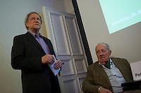 Der Junge Freiheit-Journalist Billy Six war am Dienstag den 26. Maerz 2013 zu Gast bei der Deutsch Arabischen Gesellschaft (DAG) und erzaehlte von seinen Eindruecken in Syrien.<br />Six wurde im Dezember 2012 in Syrien von Regierungstruppen festgenommen und wurde nach dreimonatiger Haft im Maerz 2013 freigelassen.<br />Im Bild vlnr.: Harald Moritz Bock, Generalsekretaer der DAG; Prof. Dr. Peter Scholl-Latour, DAG-Praesident.<br />26.3.2013, Berlin<br />Copyright: Christian-Ditsch.de<br />[Inhaltsveraendernde Manipulation des Fotos nur nach ausdruecklicher Genehmigung des Fotografen. Vereinbarungen ueber Abtretung von Persoenlichkeitsrechten/Model Release der abgebildeten Person/Personen liegen nicht vor. NO MODEL RELEASE! Don't publish without copyright Christian-Ditsch.de, Veroeffentlichung nur mit Fotografennennung, sowie gegen Honorar, MwSt. und Beleg. Konto:, I N G - D i B a, IBAN DE58500105175400192269, BIC INGDDEFFXXX, Kontakt: post@christian-ditsch.de<br />Urhebervermerk wird gemaess Paragraph 13 UHG verlangt.]
