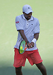 Donald Young (USA) falls behind Stanislas Wawrinka (SUI) 6-4, 1-6, 6-3, 3-2 at the US Open in Flushing, NY on September 7, 2015.