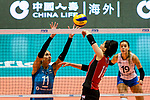 Koyomi Tominaga of Japan (R) attacks during the FIVB Volleyball Nations League Hong Kong match between Japan and Argentina on May 31, 2018 in Hong Kong, Hong Kong. Photo by Marcio Rodrigo Machado / Power Sport Images