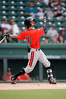 Center fielder Zach Watson (10) of the Aberdeen IronBirds in a game against the Greenville Drive on Sunday, July 11, 2021, at Fluor Field at the West End in Greenville, South Carolina. (Tom Priddy/Four Seam Images)