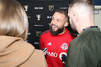 SEATTLE, WA - NOVEMBER 9: Nick DeLeon #18 of Toronto FC talks to the media at CenturyLink Field on November 9, 2019 in Seattle, Washington.