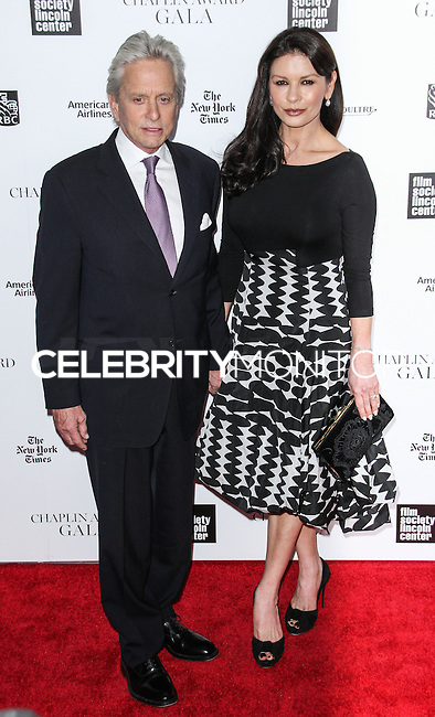 NEW YORK CITY, NY, USA - APRIL 28: Michael Douglas, Catherine Zeta-Jones at the 41st Annual Chaplin Award Gala held at Avery Fisher Hall at Lincoln Center for the Performing Arts on April 28, 2014 in New York City, New York, United States. (Photo by Jeffery Duran/Celebrity Monitor)