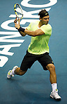 BANGKOK, THAILAND - SEPTEMBER 30:  Rafael Nadal of Spain returns a ball against Ruben Bemelmans of Belgium during the Day 6 of the PTT Thailand Open at Impact Arena on September 30, 2010 in Bangkok, Thailand. Photo by Victor Fraile / The Power of Sport Images