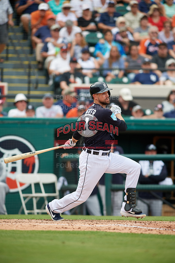 Detroit Tigers shortstop Jordy Mercer (7) grounds out during a Grapefruit League Spring Training game against the New York Yankees on February 27, 2019 at Publix Field at Joker Marchant Stadium in Lakeland, Florida.  Yankees defeated the Tigers 10-4 as the game was called after the sixth inning due to rain.  (Mike Janes/Four Seam Images)