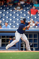 New Orleans Baby Cakes designated hitter Tomas Telis (18) at bat during a game against the Nashville Sounds on April 30, 2017 at First Tennessee Park in Nashville, Tennessee.  The game was postponed due to inclement weather in the fourth inning.  (Mike Janes/Four Seam Images)