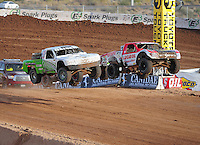 Dec. 11, 2011; Chandler, AZ, USA;  LOORRS pro 2 driver Rodrigo Ampudia (36) and Jeff Geiser (44) during the Lucas Oil Challenge Cup at Firebird International Raceway. Mandatory Credit: Mark J. Rebilas-