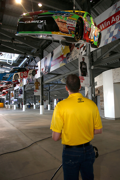 2017 NASCAR Cup - Clash at Daytona<br /> Daytona International Speedway, Daytona Beach, FL USA<br /> Friday 17 February 2017<br /> A model of Kyle Busch's 2015 Toyota Camry is raised to the rafters in the Toyota Injector at Daytona International Speedway<br /> World Copyright: Lesley Ann Miller/LAT Images<br /> ref: Digital Image _LAM9944