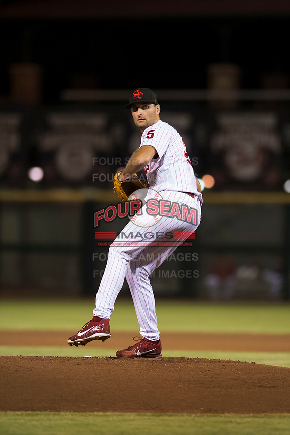 Scottsdale Scorpions starting pitcher Tyler Viza (35), of the Philadelphia Phillies organization, delivers a pitch during an Arizona Fall League game against the Salt River Rafters at Scottsdale Stadium on October 12, 2018 in Scottsdale, Arizona. Scottsdale defeated Salt River 6-2. (Zachary Lucy/Four Seam Images)