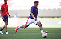 ZAPOPAN, MEXICO - MARCH 21: Jonathan Lewis #7 of the United States shoots the ball during warm ups before a game between Dominican Republic and USMNT U-23 at Estadio Akron on March 21, 2021 in Zapopan, Mexico.