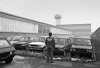 - Innocenti Leyland car factory in Lambrate occupied by workers for protest against dismissal (Milan, 1975); unsold cars parked on yards....- fabbrica di automobili Innocenti Leyland di Lambrate ocupata dagli operai  per protesta contro i licenziamenti  (Milano, 1975); auto invendute parcheggiate sui piazzali