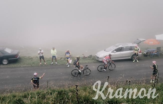 Thomas Voeckler (FRA/Direct Energie) & Nicolas Edet (FRA/Cofidis) up the Port de Balès (HC/1755m/11.7km/7.7%)<br /> <br /> 104th Tour de France 2017<br /> Stage 12 - Pau › Peyragudes (214km)