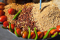 Jaipur, Rajasthan, India.  Snacks on Sale at a Roadside vendor's Stand.