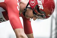 A focused Tim Wellens (BEL/Lotto Soudal) seconds before his ITT start. <br /> <br /> Binckbank Tour 2017 (UCI World Tour)<br /> Stage 2: ITT Voorburg (NL) 9km