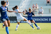 CARY, NC - SEPTEMBER 12: Carson Pickett #4 of the NC Courage passes the ball during a game between Portland Thorns FC and North Carolina Courage at WakeMed Soccer Park on September 12, 2021 in Cary, North Carolina.