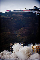 Monday 06 January 2014<br /> Pictured: The Sea batters Aberystwyth Seafront<br /> Re: Storm force winds and high tides hit the UK