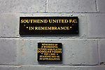 Southend United 1 Burton Albion 1, 22/02/2016. Roots Hall, League One. A remembrance plaque in the main stand at Roots Hall stadium, pictured before Southend United took on Burton Albion in a League 1 fixture. Founded in 1906, Southend United moved into their current ground in 1955, the construction of which was funded by the club's supporters. Southend won this match by 3-1, watched by a crowd of 6503. Photo by Colin McPherson.