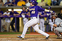 LSU Tigers catcher Kade Scivicque (22) swings the bat during a Southeastern Conference baseball game against the Texas A&M Aggies on April 24, 2015 at Alex Box Stadium in Baton Rouge, Louisiana. LSU defeated Texas A&M 9-6. (Andrew Woolley/Four Seam Images)