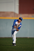 Ethan Sanasie-Edwards (10) of Mississauga Secondary School in Brampton, Ontario, Canada during the Baseball Factory All-America Pre-Season Tournament, powered by Under Armour, on January 13, 2018 at Sloan Park Complex in Mesa, Arizona.  (Mike Janes/Four Seam Images)