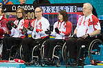 Sochi, RUSSIA - Mar 13 2014 - Sonja Gaudet, Ina Forrest, Dennis Thiessen and Jim Armstrong as Canada takes on Slovakia in round robin play at the 2014 Paralympic Winter Games in Sochi, Russia.  (Photo: Matthew Murnaghan/Canadian Paralympic Committee)