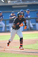 Luis Matos (18) of the San Jose Giants runs to first base during a game against the Rancho Cucamonga Quakes at LoanMart Field on August 22, 2021 in Rancho Cucamonga, California. (Larry Goren/Four Seam Images)