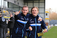 Alex Samuel of Wycombe Wanderers and Jason McCarthy of Wycombe Wanderers arriving for the Sky Bet League 1 match between Burton Albion and Wycombe Wanderers at the Pirelli Stadium, Burton upon Trent, England on 26 December 2018. Photo by Leila Coker / PRiME Media Images.
