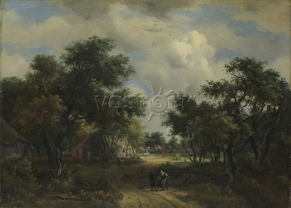 Full title: A Road winding past Cottages<br /> Artist: Meindert Hobbema<br /> Date made: about 1667-8<br /> Source: http://www.nationalgalleryimages.co.uk/<br /> Contact: picture.library@nationalgallery.co.uk<br /> <br /> Copyright © The National Gallery, London