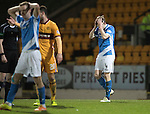 St Johnstone v Motherwell…17.12.16     McDiarmid Park    SPFL<br />Blair Alston holds his head after missing a late chance to score<br />Picture by Graeme Hart.<br />Copyright Perthshire Picture Agency<br />Tel: 01738 623350  Mobile: 07990 594431