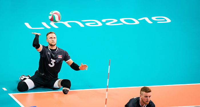 Austin Hinchey, Lima 2019 - Sitting Volleyball // Volleyball assis.<br /> Canada competes in men's Sitting Volleyball // Canada participe au volleyball assis masculin. 25/08/2019.