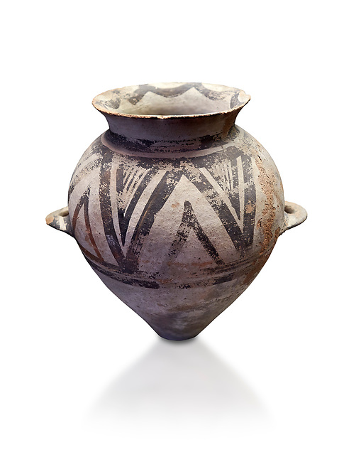 Cycladic amphora with 'melian' painted motifs.  Early Cycladic III (2300-2000 BC) , Phylakopi I, Melos. National Archaeological Museum Athens.   White background.