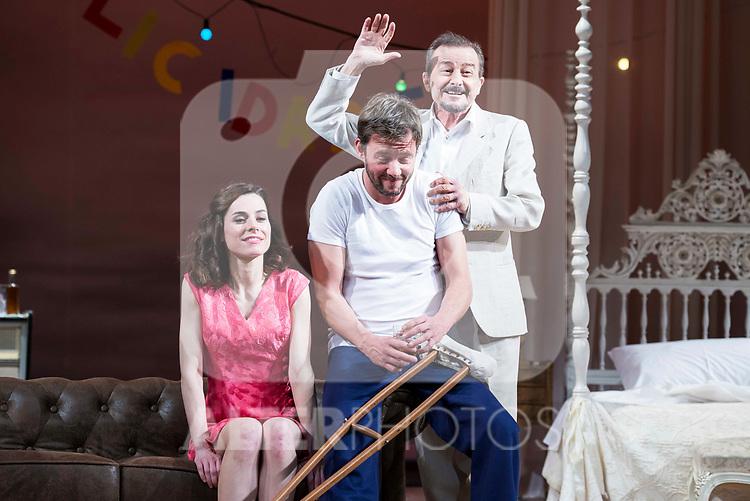 """Begoña Maestre, Eloy Azorin and Juan Diego during theater play of """"Una gata sobre un tejado de Cinc caliente"""" at Reina Victoria theater in Madrid, Spain. March 15, 2017. (ALTERPHOTOS/BorjaB.Hojas)"""