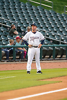 Northwest Arkansas Naturals manager Darryl Kennedy (8) stands by third base Wednesday, May 1, 2019, at Arvest Ballpark in Springdale, Arkansas. (Jason Ivester/Four Seam Images)