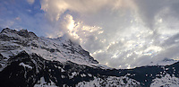 The Noprth Face of the Eiger Mountain at sunset from Grindelwald - Swiss Alps