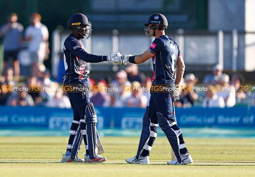 Daniel Bell-Drummond (L) and Joe Denly of Kent during Kent Spitfires vs Hampshire Hawks, Vitality Blast T20 Cricket at The Spitfire Ground on 9th June 2021