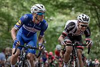 Zdenek Stybar (CZE/Quick Step Floors) & Edward Theuns (BEL/Sunweb) up the infamous Kapelmuur. <br /> <br /> Binckbank Tour 2018 (UCI World Tour)<br /> Stage 7: Lac de l'eau d'heure (BE) - Geraardsbergen (BE) 212.7km