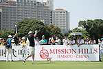 Lee Sharpe tees off the 10th hole during the World Celebrity Pro-Am 2016 Mission Hills China Golf Tournament on 22 October 2016, in Haikou, China. Photo by Weixiang Lim / Power Sport Images