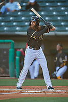 Brandon Marsh (23) of the Salt Lake Bees at bat against the Tacoma Rainiers at Smith's Ballpark on May 13, 2021 in Salt Lake City, Utah. The Rainiers defeated the Bees 15-5. (Stephen Smith/Four Seam Images)