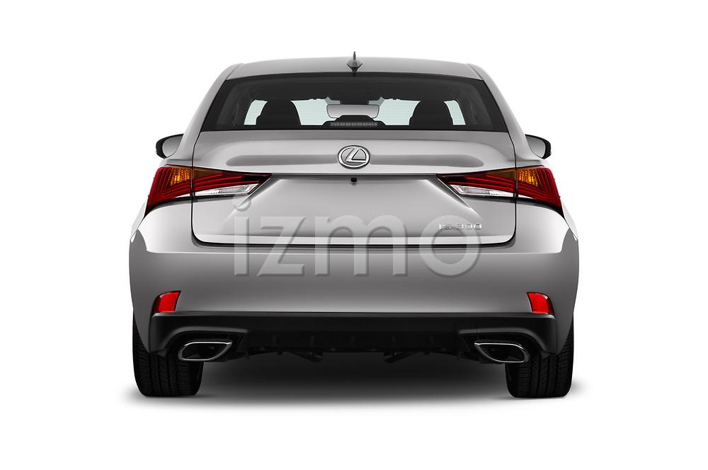 Straight rear view of a 2018 Lexus IS 300 4 Door Sedan stock images