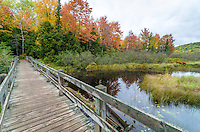 Crossing the Big Carp River foot bridge during the fall season in the Porcupine Mountains.
