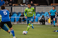 SAN JOSE, CA - MAY 12: Xavier Arreaga #3 of the Seattle Sounders  looks up to pass the ball during a game between San Jose Earthquakes and Seattle Sounders FC at PayPal Park on May 12, 2021 in San Jose, California.