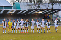 line-up team Charleroi ( Noemie Fourdin (22) , goalkeeper Ambre Collet (1) , Chrystal Lermusiaux (2) , Megane Vos (20) , Ludmila Matavkova (9) , Renate Mehevets (15) , Alysson Duterne (14) , Jessica Silva Valdebenito (18) , Madison Hudson (8) , Jennifer Bouchenna (17) , Estelle Dessilly (13) ) pictured before a female soccer game between FC Femina White Star Woluwe and Sporting Charleroi on the 2nd matchday of Play off 2 in  the 2020 - 2021 season of Belgian Scooore Womens Super League , friday 16 th of April 2021  in Woluwe , Belgium . PHOTO SPORTPIX.BE   SPP   STIJN AUDOOREN