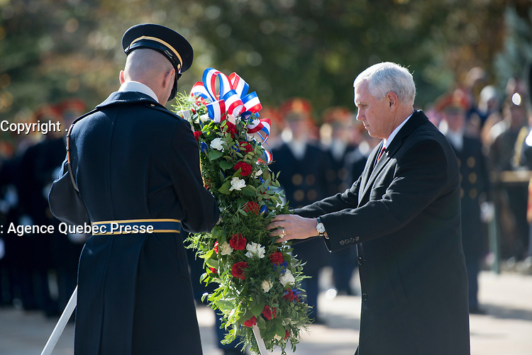 Vice President Mike Pence lays a wreath at the Tomb of the Unknown Soldier as part of the Veterans Day observance at Arlington National Cemetery, Arlignton, Virginia, Nov. 11, 2017.  (U.S. Army photo by Elizabeth Fraser / Arlington National Cemetery / released)